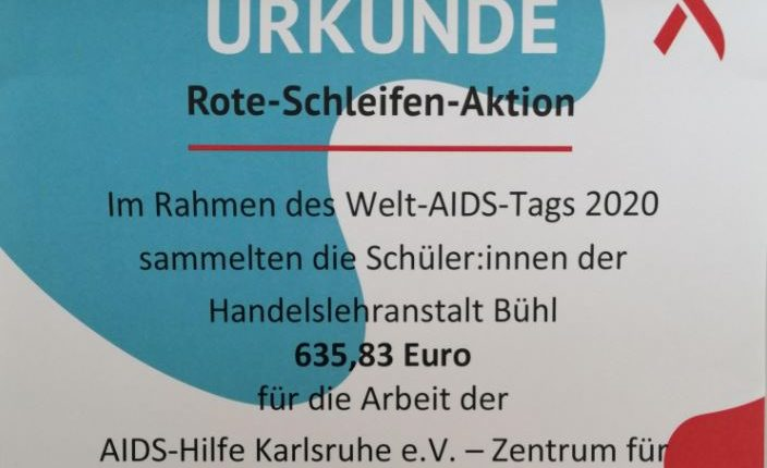 Urkunde Rote Schleifen Aktion 2020 - Sammelwert 635,83 Euro